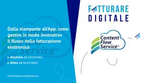 """CONTENT FLOW SERVICE PRESENTE AL PROSSIMO """"FATTURARE DIGITALE 2018"""""""